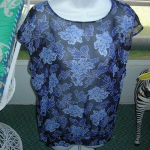 ❤️Loft Top Sheer Blue & Black Pullover Size Small